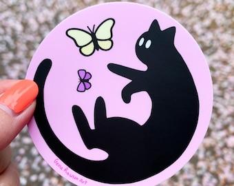 Black Cat Butterfly Round Sticker