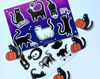 Black Cat Sticker Sheet Pack