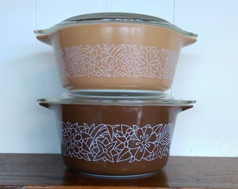 Vintage Pyrex Woodland Pattern Casserole Set with Lids 472 and 473