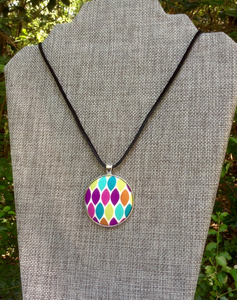 Cotton Fabric Jewel Tones Multi Color OOAK Gift for Her Geometric Fabric Covered Button Pendant Necklace Unique Handmade Jewelry