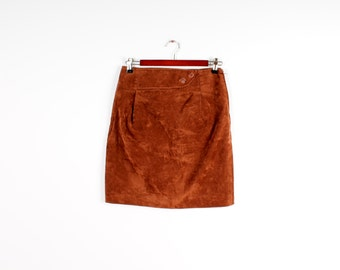 59592ed318 Vegan Leather Skirt Vintage Sexy Midi Pencil Skirt Faux Leather High Waist  Brown Velvet Skirts Retro Business Women Skirt Size Medium