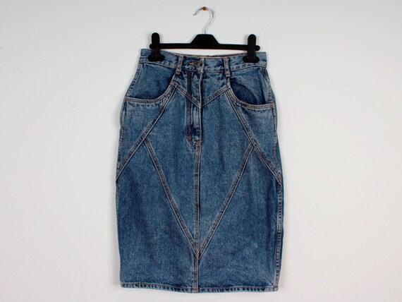 Jupe Vintage Denim jupe crayon 80 s 90 s Style Jeans jupe   Etsy 1a1a575d0fb7