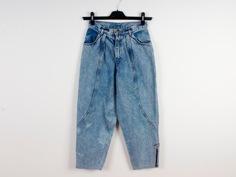Denim 90s Style Pants Bleached Acid Wash Boho Hipster Jeans Country Western Jeans Vintage 80s Style Jeans High Waist Pants