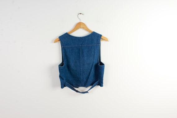 Bleu Veste Jeans Denim Cintrée Gilet Femmes Country Western Petite qRTqtrwx