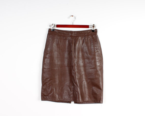 Vegan Leather Skirts Brown Vintage Pencil Skirt Fa