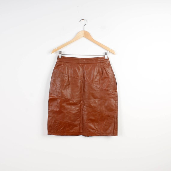 Real Leather Skirt Brown Vintage Pencil Skirt Genu