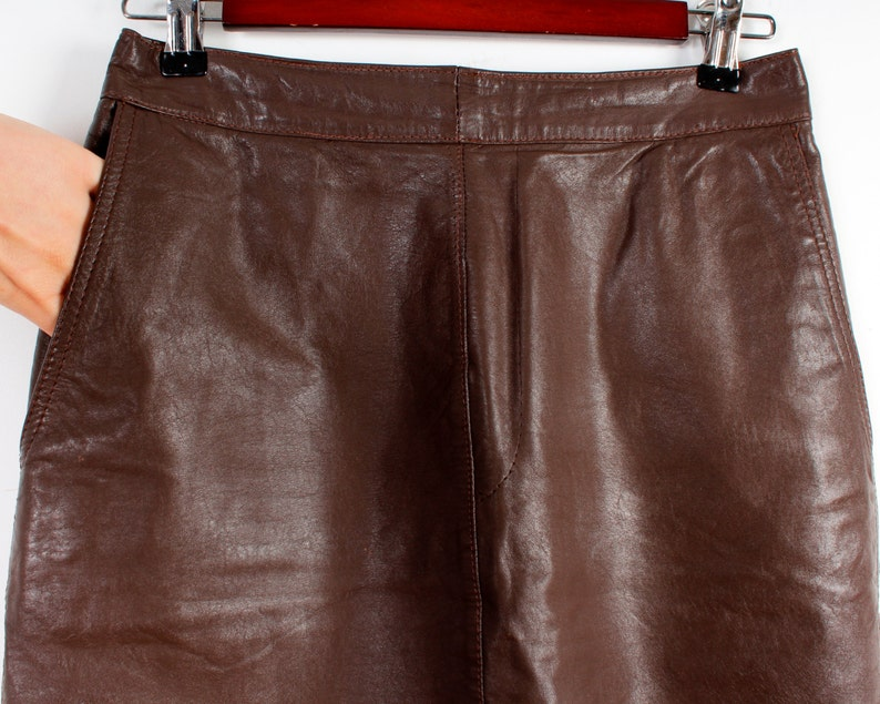 0f5642184d Vegan Leather Skirts Brown Vintage Pencil Skirt Faux Leather | Etsy