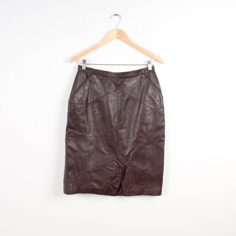 ad503124e33d Simili cuir jupe marron jupe longueur genou jupe droite simili