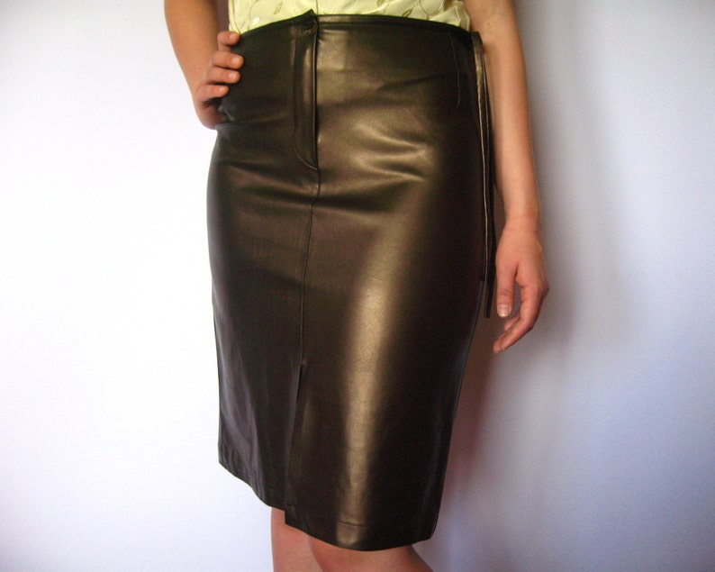 43faa0cc67 Vegan Leather Skirts Gold Brown Vintage Faux Leather Sexy | Etsy