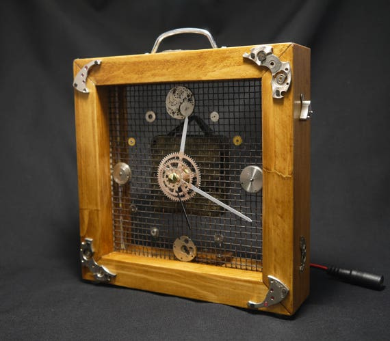 Steampunk Uhr Steampunk Holz Lampe Holztisch Uhr Analoguhr Für Etsy