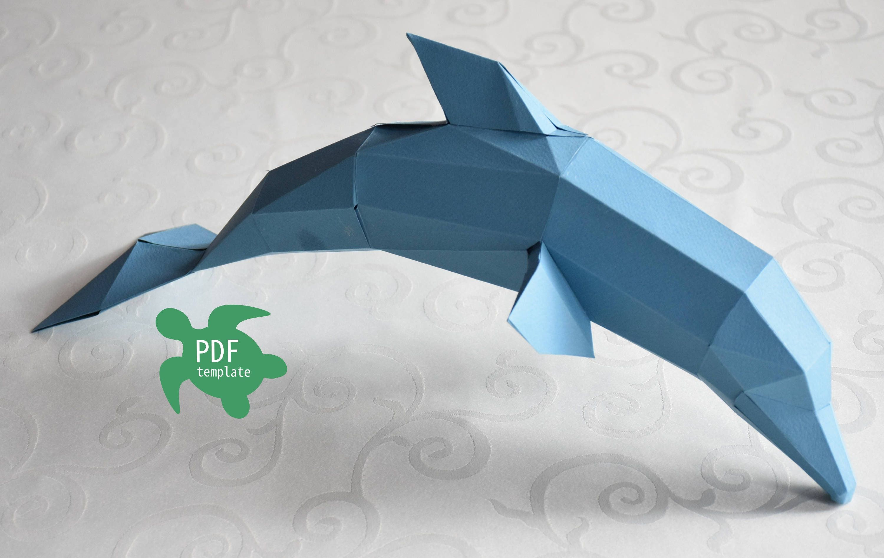 Papercraft dolphin PDF template | Etsy