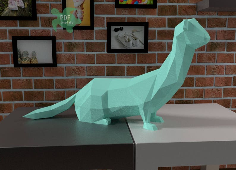 Papercraft template  diy low poly weasel  pdf template  image 0