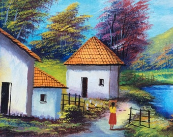 Latin South American Village Painting by H Battes, Folk Art, Oil Painting