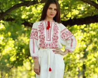 Embroidered Long Dress white for women. Vyshyvanka. Ukrainian embroider dress
