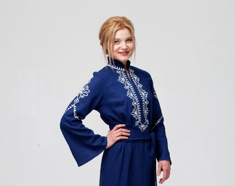 8963cbbf316 Embroidered Long Dark Blue Linen Woman Boho Dress in Turkish Style