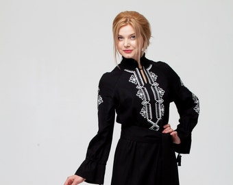 a19c1ff6ede Embroidered Long Black Linen Woman Boho Dress in Turkish Style