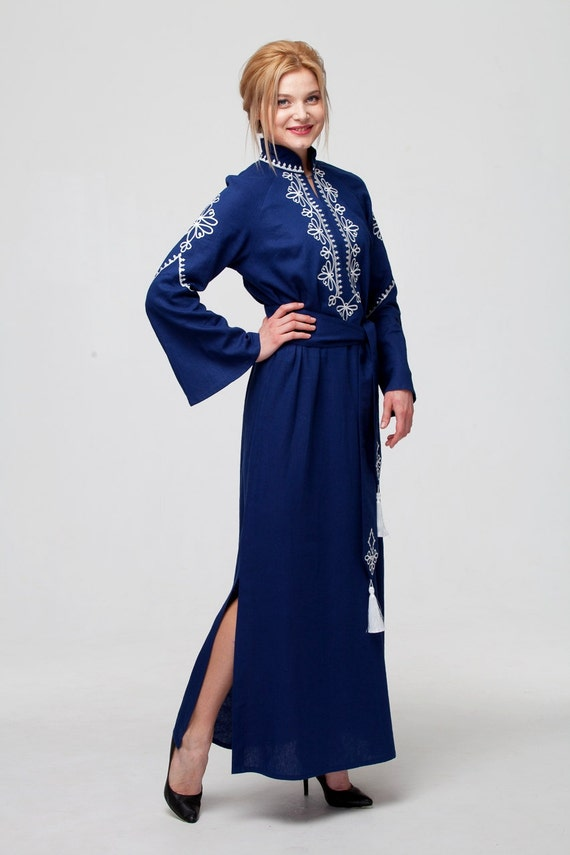 33ab76962f7 Embroidered Long Dark Blue Linen Woman Boho Dress in Turkish