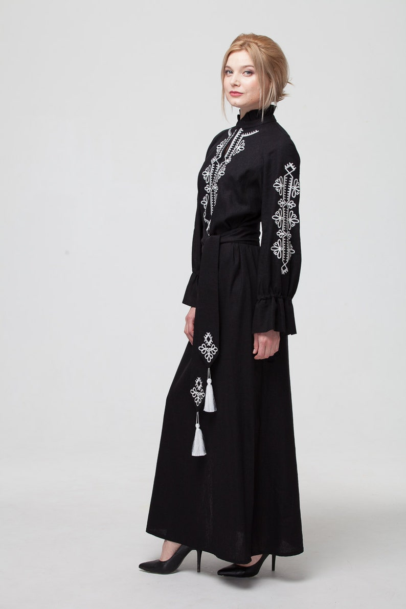 f174d6f93fe Embroidered Long Black Linen Woman Boho Dress in Turkish Style