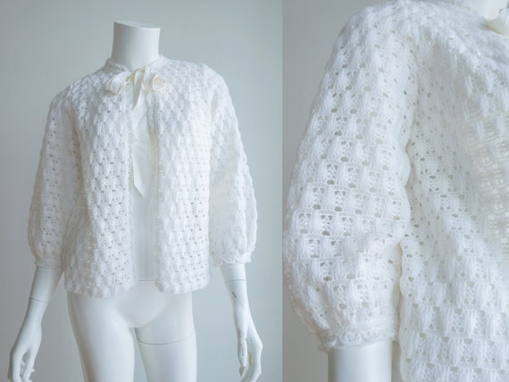 Vintage Open Front Crochet Cardigan White