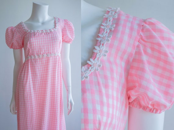 Vintage Pink Gingham Maxi Puff Sleeve Dress with D