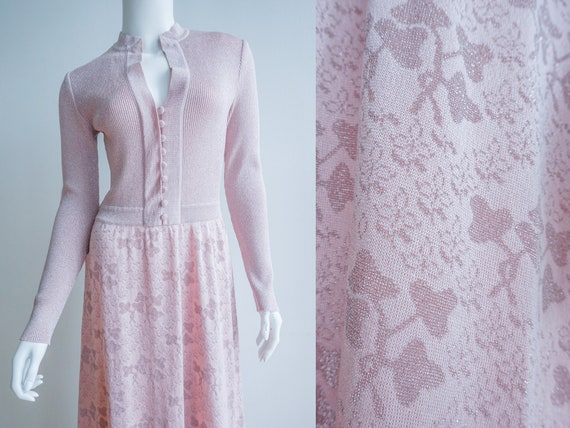 Vintage Pastel Pink Lurex Maxi Dress / Floral Lure