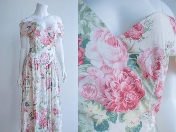 80s Off the Shoulder Garden Party Floral Dress