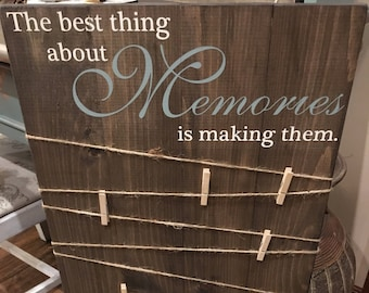 Making Memories Wooden Sign / Photo Board with clips / Wood Picture Frame / Photo Sign / Picture Display / Picture Frame / wedding decor