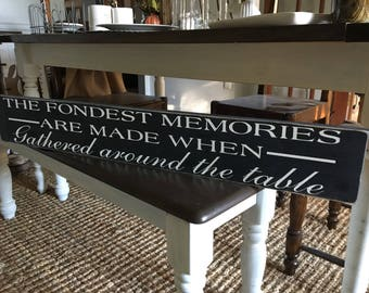 The Fondest Memories Are Made When Gathered Around The Table / Kitchen Signs  / Rustic Signs / Dining Room Sign / Kitchen Decor