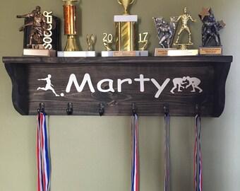 Wall Shelf Trophy And Metal Hanger Kids Room Shelves Sports Sign Holder Running