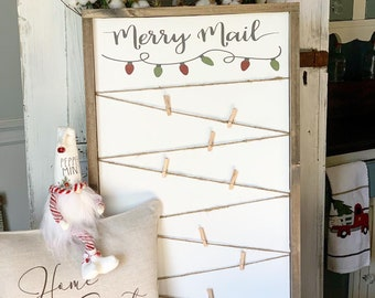 Merry Mail Card Holder / Merry Mail Sign / Christmas Card Holder / Holiday Card Holder / Farmhouse Signs / Christmas Signs / Christmas decor