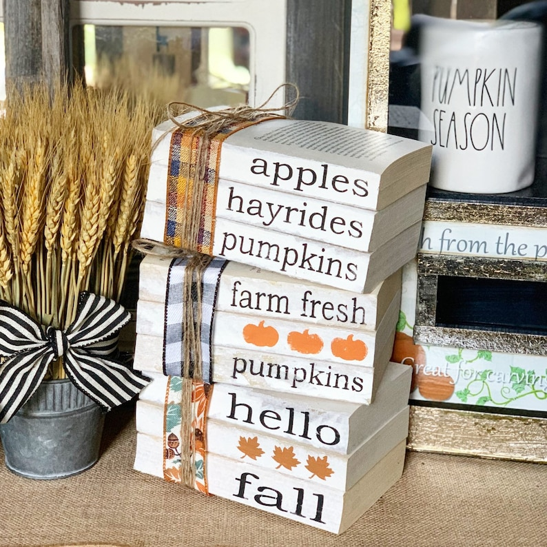 Fall Stamped Books Decor
