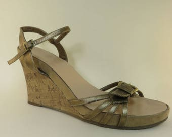 11d3d1c10f5204 Size 12 Retro Wedge Sandal with Buckle Detail and Ankle Strap Cork Wedge  Platform Sandals