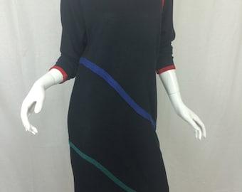 Long Sleeve 80's Knitted Dress by Jean Ingram