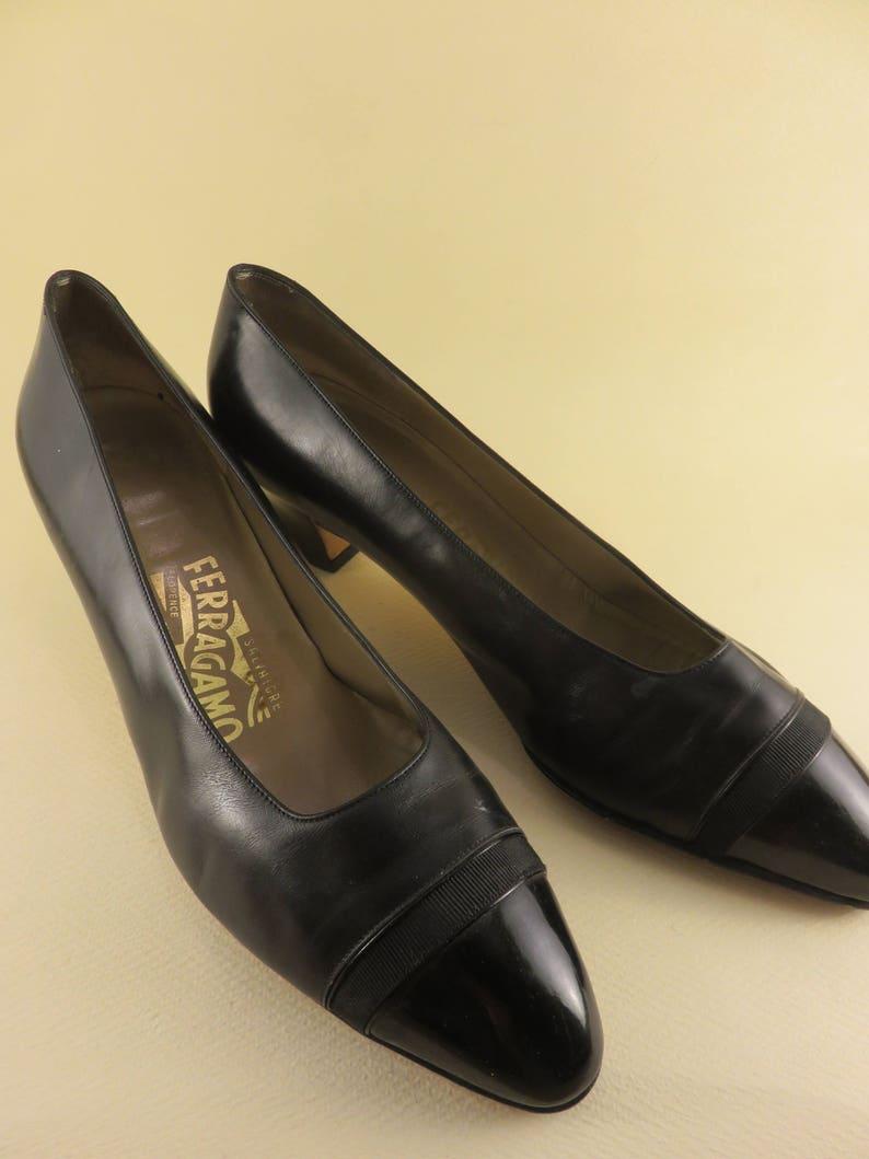 82a6887bedc Size 9 B 90s Salvatore Ferragamo Shoes Black Matte and Gloss Women s  Designer Pumps Low Heels Pointed Shoes
