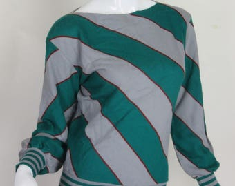 Green Gray Striped Sweater Boat Neck Pullover