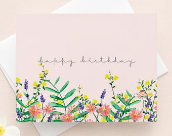 Birthday Card with envelope // Flower Illustration on a pink background, Blank card, Happy Birthday card, Blank card interior, Anniversary,