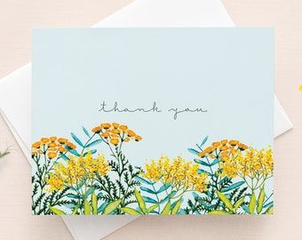 Thank you Card with envelope // Flower Illustration on a blue background, Thankful, Gratitude card, Greenery card, Yellow and orange flowers