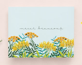 Thank you Card in French with envelope // Flower Illustration on a blue background, Gratitude card, Greenery card, Yellow and orange flowers