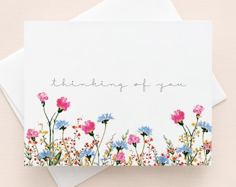 Thinking of you card with envelope / Flower Illustration, Sympathy card, Condolences, Get well card, Watercolour illustration, Sweet Wishes