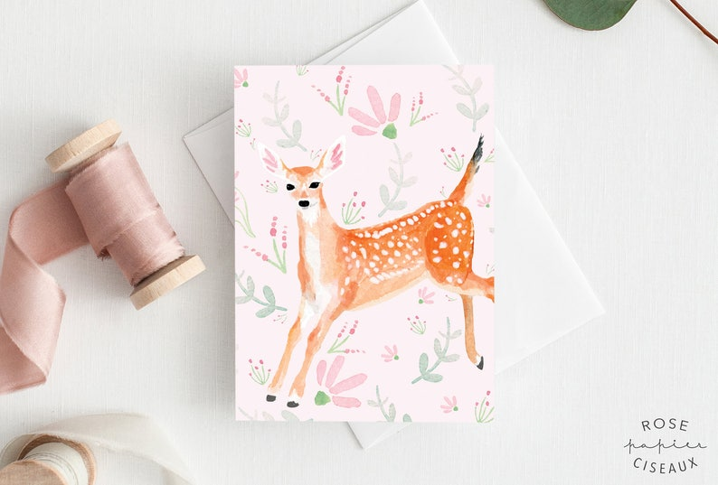 Greeting Card Fawn and flowers // Illustration of a baby deer image 0