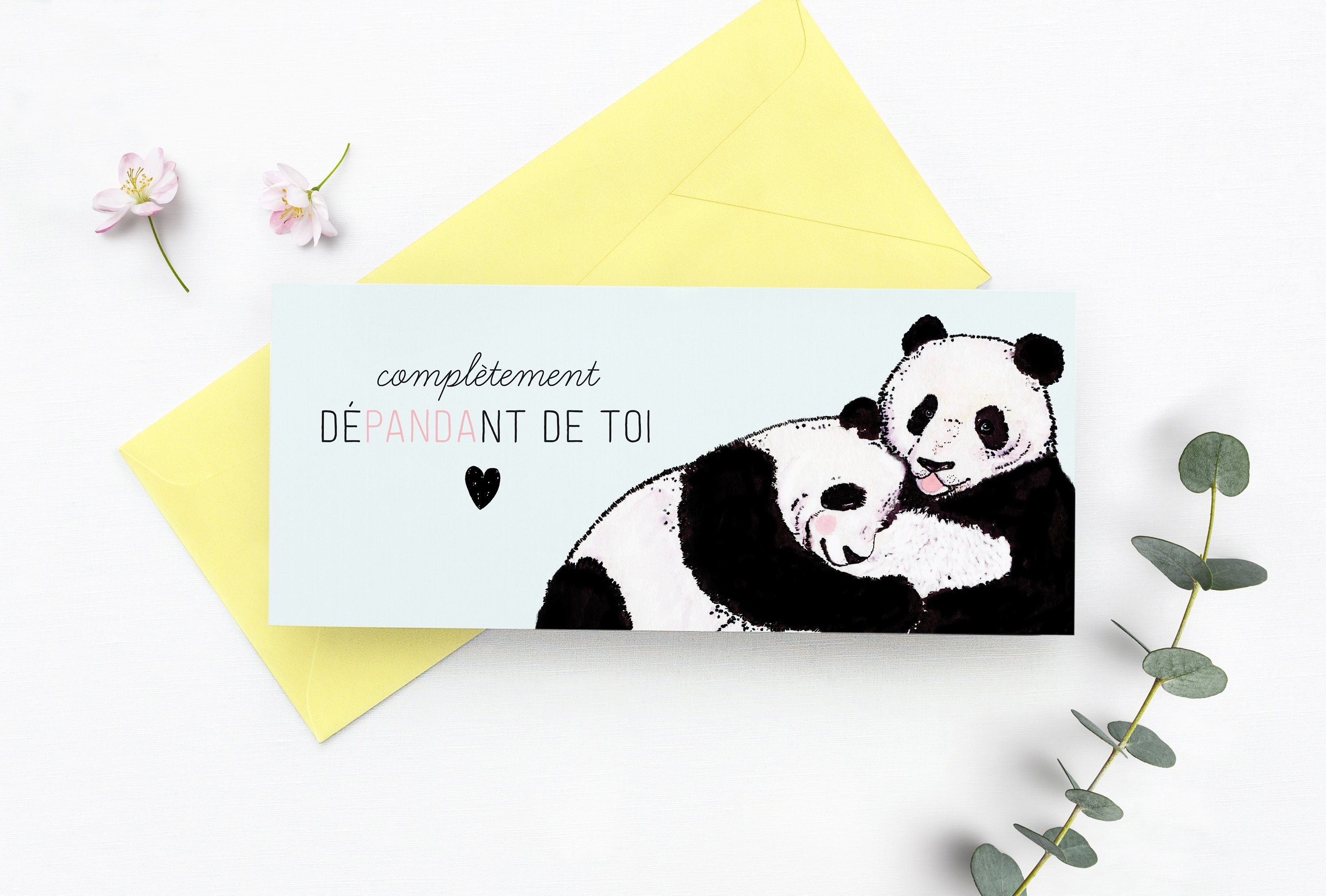 La Fiancée Du Panda greeting card with cute pandas in love, happy anniversary, i love you, card  for her him boyfriend girlfriend wife husband fiancee, french