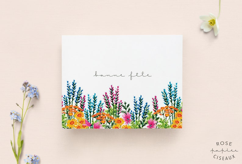 Birthday Card with envelope // Flower Illustration Blank image 0