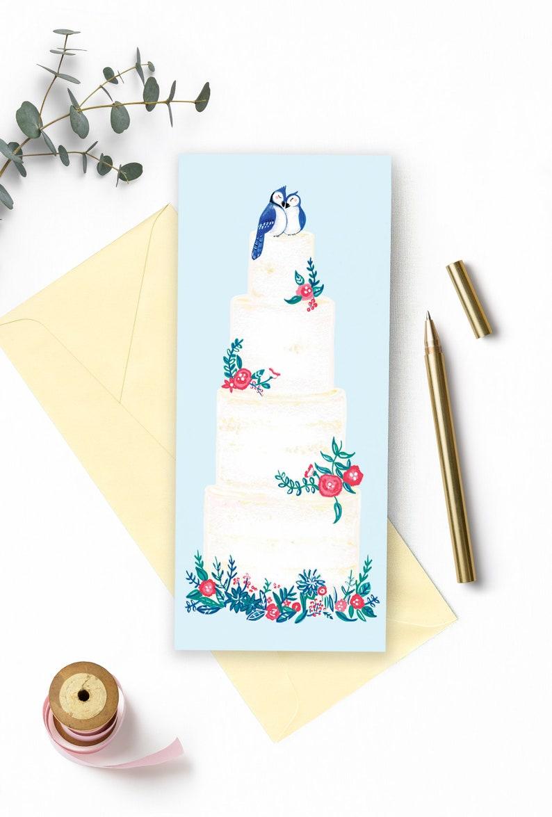 Wedding card with wedding cake illustration Flowers and image 0