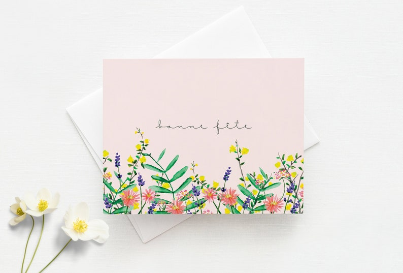Birthday Card with envelope // Flower Illustration on a pink image 0