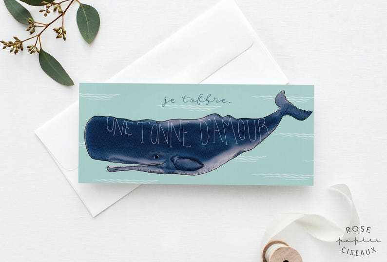 Whale Greeting Card Whale illustration Wedding card image 0