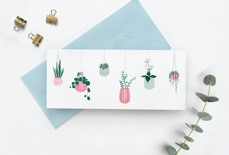 Greeting Card with a cat and hanging planters Hanging plants image 0