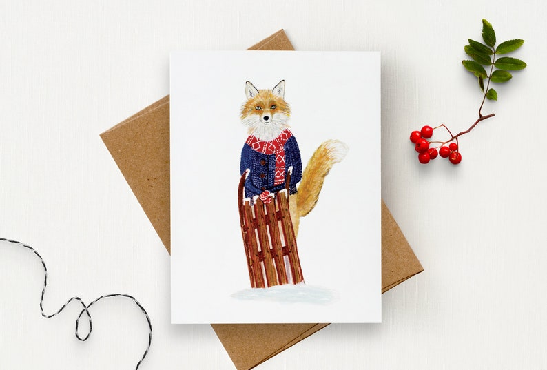 Card with a fox and his sled  Greeting card  Red fox  image 0