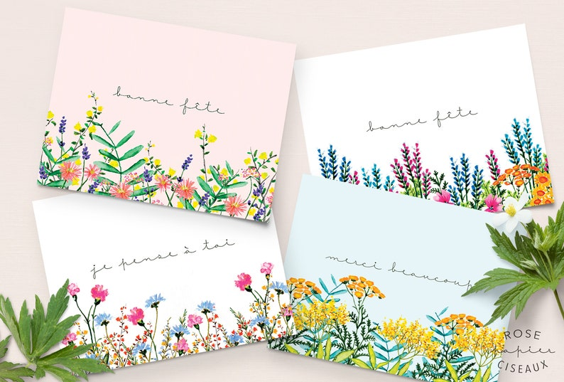 Set of 4 greeting cards / Happy Birthday card Thank you card image 0