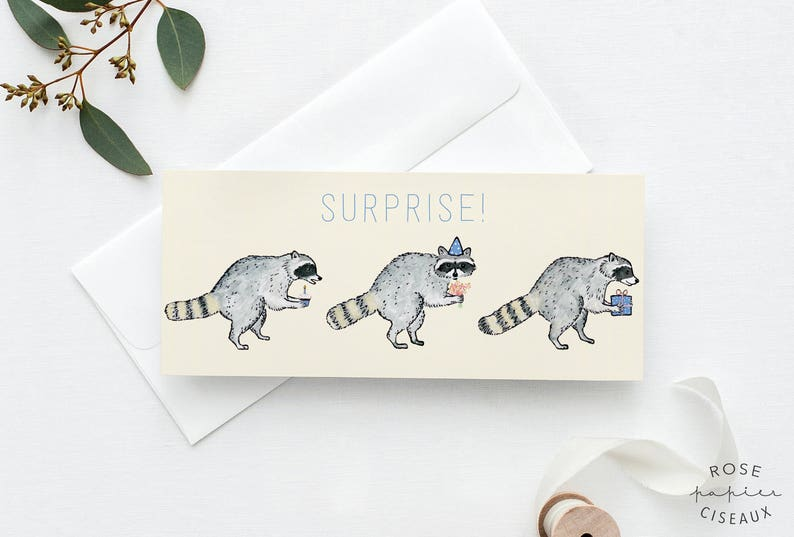 Greeting Card Raccoons Surprise // Blank card Funny card image 0
