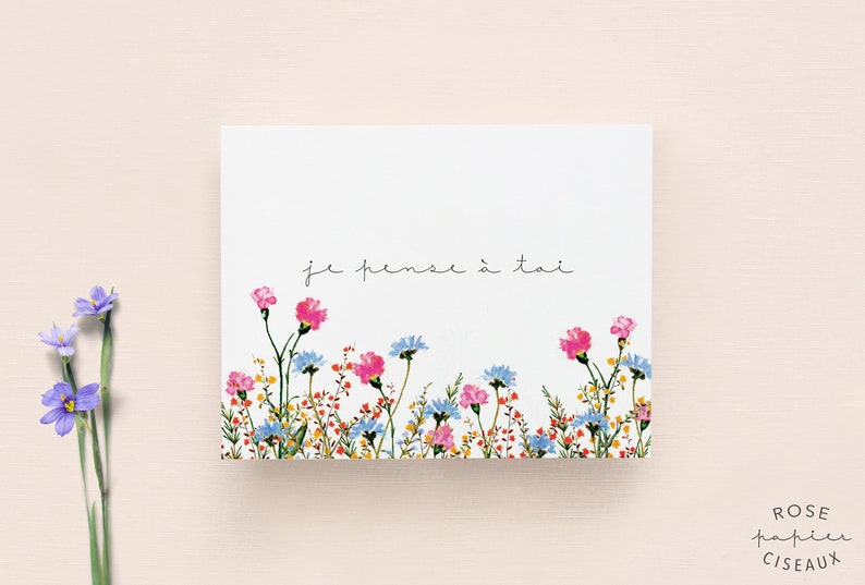 Thinking of you card in French // Flower Illustration image 0